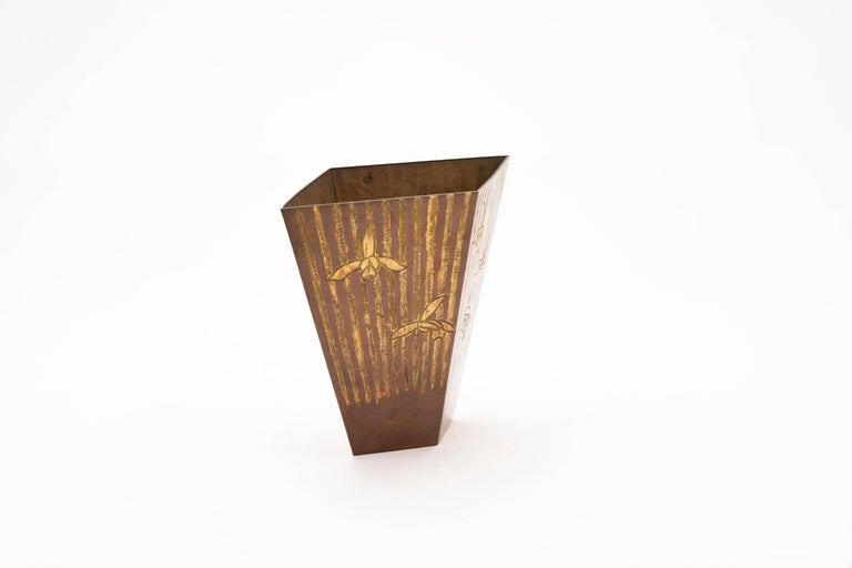 Mid-20th Century Japanese Hand Beaten Copper Vase with Iris and Stripes For Sale 1