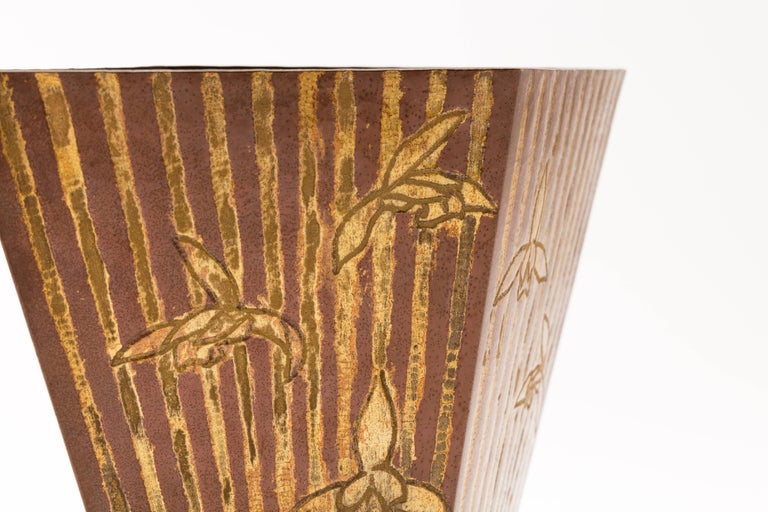 Hammered Mid-20th Century Japanese Hand Beaten Copper Vase with Iris and Stripes For Sale