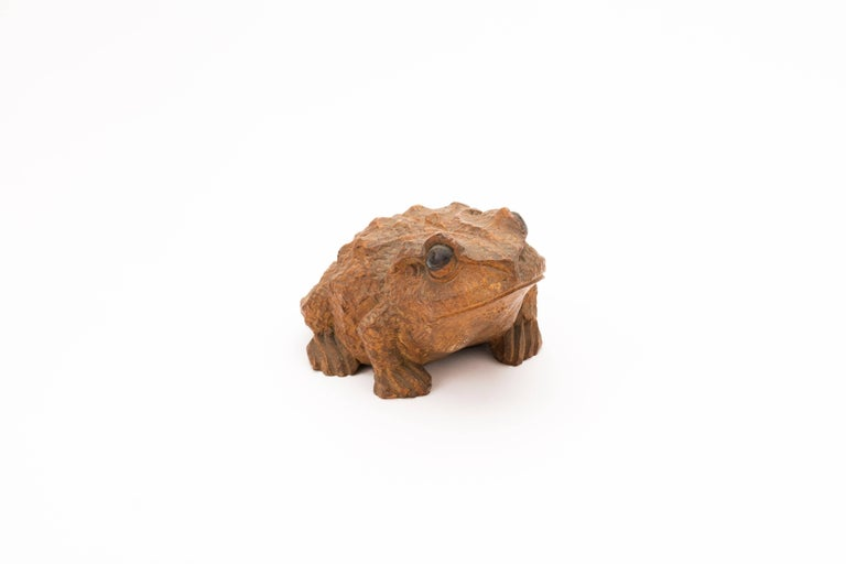 Hand-Carved Antique Japanese Carved Bamboo Toad, 19th Century For Sale