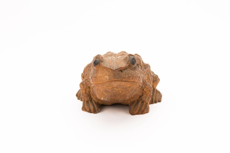 Meiji Antique Japanese Carved Bamboo Toad, 19th Century For Sale