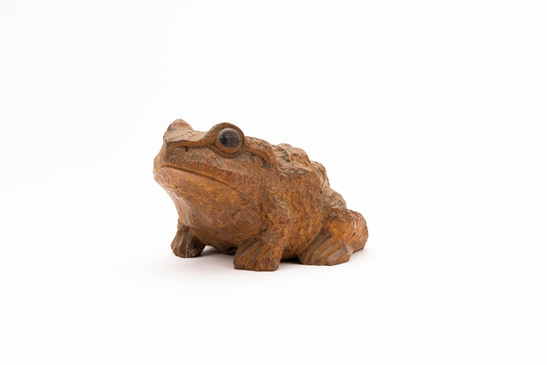 Antique Japanese Carved Bamboo Toad, 19th Century For Sale 1