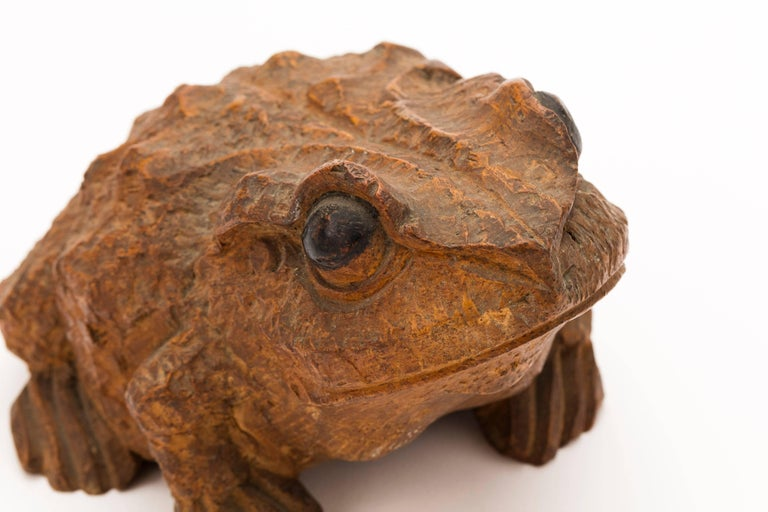 Antique Japanese bamboo toad, 19th century, Meiji period, hand carved with glass eyes.