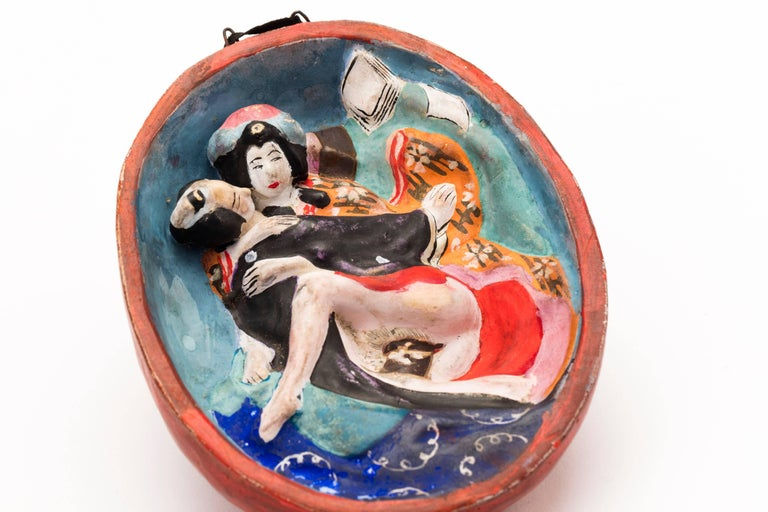 Early 20th Century Antique Japanese Ceramic Wall Hanging with Erotic Underside, Meiji Period For Sale