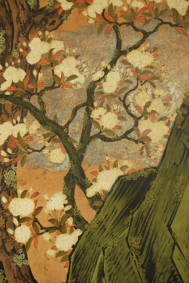 Silver Leaf 18th Century Japanese Kano School Landscape Screen For Sale