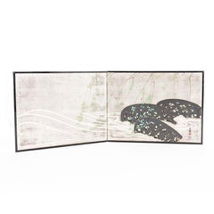 Japanese Two Panel Screen in Silver with Willow Leaf, Stream and Rocks Design