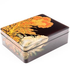 Contemporary Japanese Black Lacquer Document Box with Engraved Floral Design