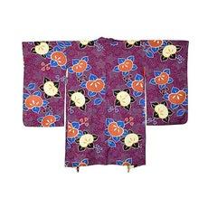Vintage Japanese Purple Silk Haori with Mandarin Motif, Early 20th Century