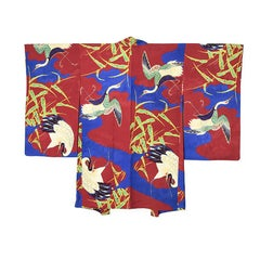 Vintage Japanese Silk Haori with Hand Painted Crane and Bamboo Motif