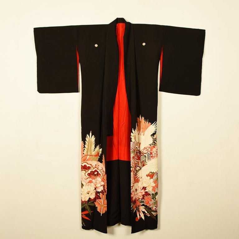 Embroidered Vintage Women's Silk Crepe Kimono Tomesode with Hand Painted Floral Motif For Sale