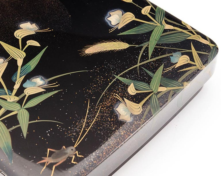 Lacquered Japanese Black Lacquer Tsuzuri-Bako Writing Box with Cricket and Grasses Design For Sale