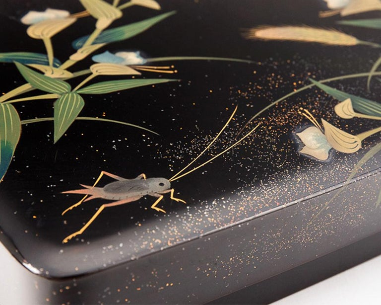 Japanese Black Lacquer Tsuzuri-Bako Writing Box with Cricket and Grasses Design In Good Condition For Sale In Prahran, Victoria