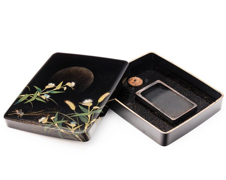 Wood Japanese Black Lacquer Tsuzuri-Bako Writing Box with Cricket and Grasses Design For Sale