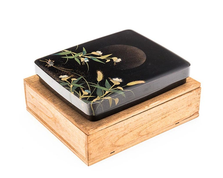 Japanese Black Lacquer Tsuzuri-Bako Writing Box with Cricket and Grasses Design For Sale 2