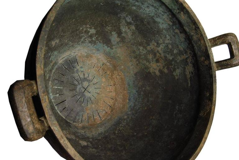 18th Century and Earlier Archaic Chinese Bronze Sieve, 722 BC–221 BC For Sale
