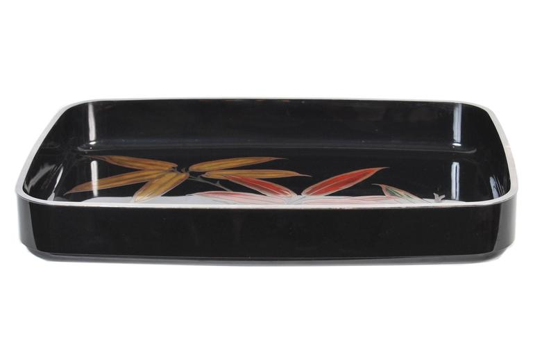 Japanese Black Lacquer Tray with Gold and Silver Maki-e, 20th Century In Excellent Condition In Prahran, Victoria
