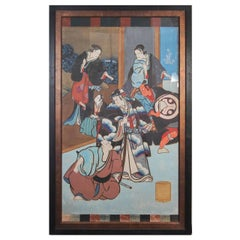 Antique Japanese Hand-Painted Kabuki Theatre Poster, 19th Century