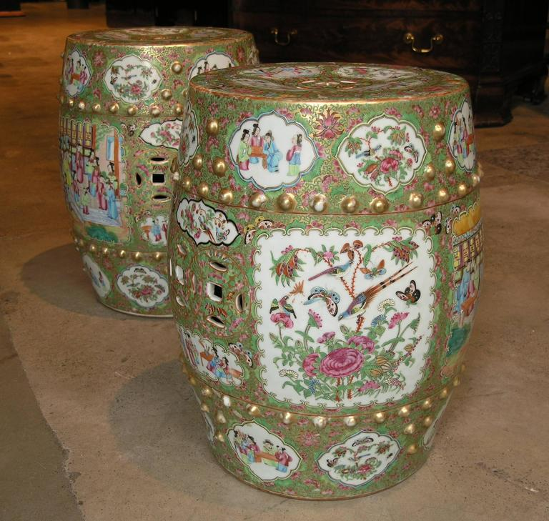 Pair Of Famille Rose Cantonese Drum Stools For Sale At 1stdibs