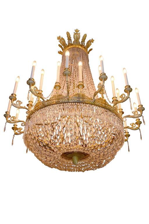 French Large Empire Period Ormolu Chandelier For Sale