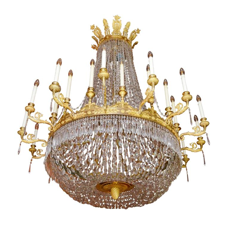 Early 19th Century Large Empire Period Ormolu Chandelier For Sale