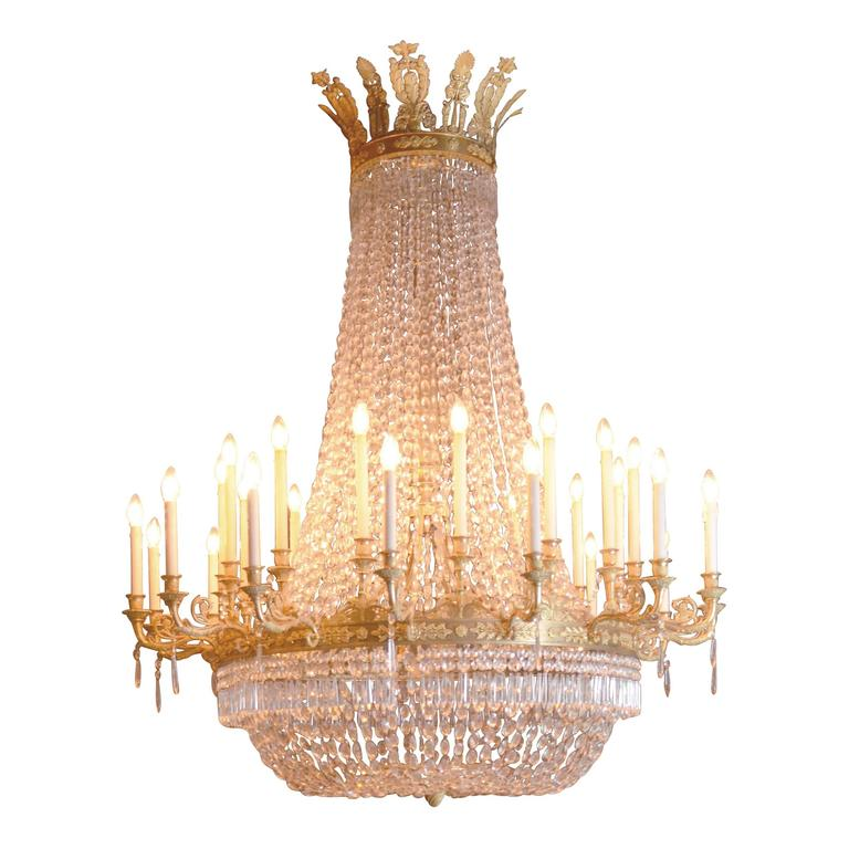 Large Empire Period Ormolu Chandelier In Excellent Condition For Sale In Banksmeadow, AU