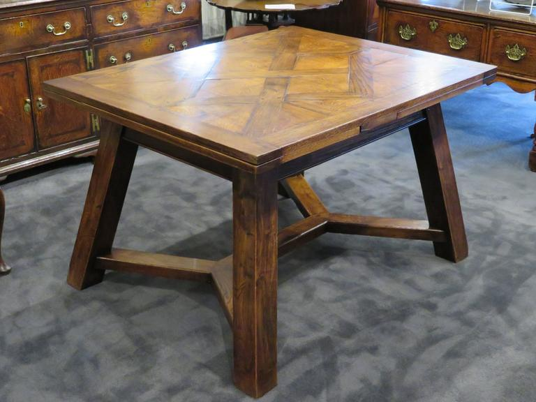 Unique Late 19th Century French Oak Art Nouveau Parquetry Top