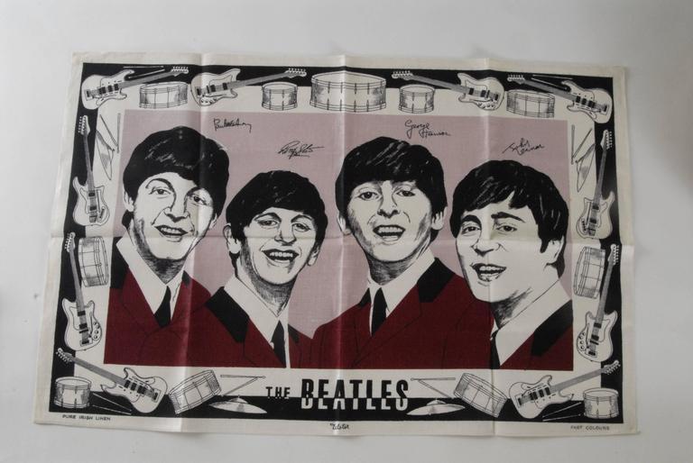 Other Beatles Irish Linen Tea Towel Souvenir 1964 For Sale