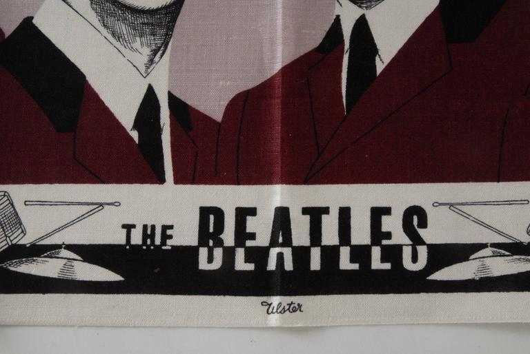 Northern Irish Beatles Irish Linen Tea Towel Souvenir 1964 For Sale
