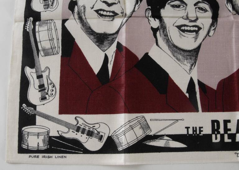 Dyed Beatles Irish Linen Tea Towel Souvenir 1964 For Sale