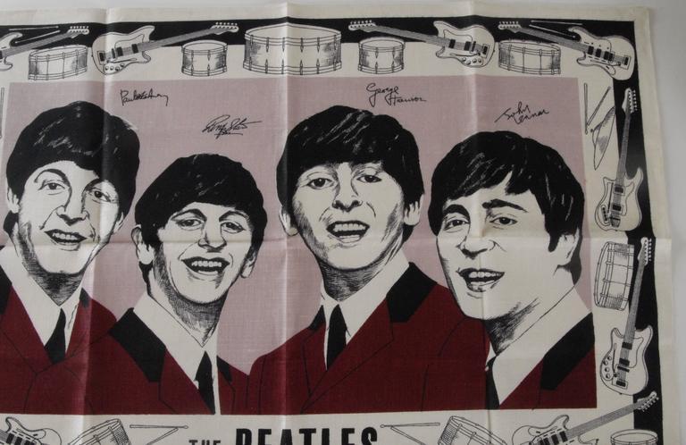 Beatles Irish Linen Tea Towel Souvenir 1964 In Excellent Condition For Sale In Sydney, NSW