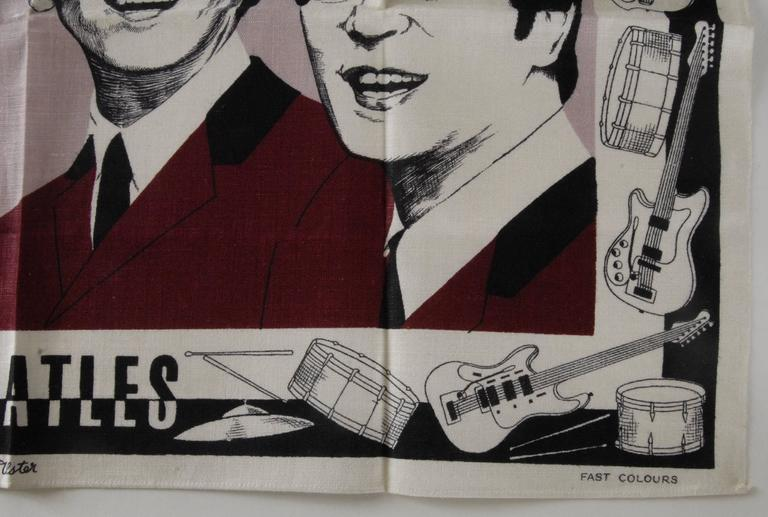 Mid-20th Century Beatles Irish Linen Tea Towel Souvenir 1964 For Sale