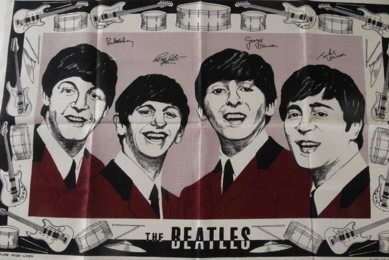 Beatles Irish Linen Tea Towel Souvenir 1964 For Sale 1