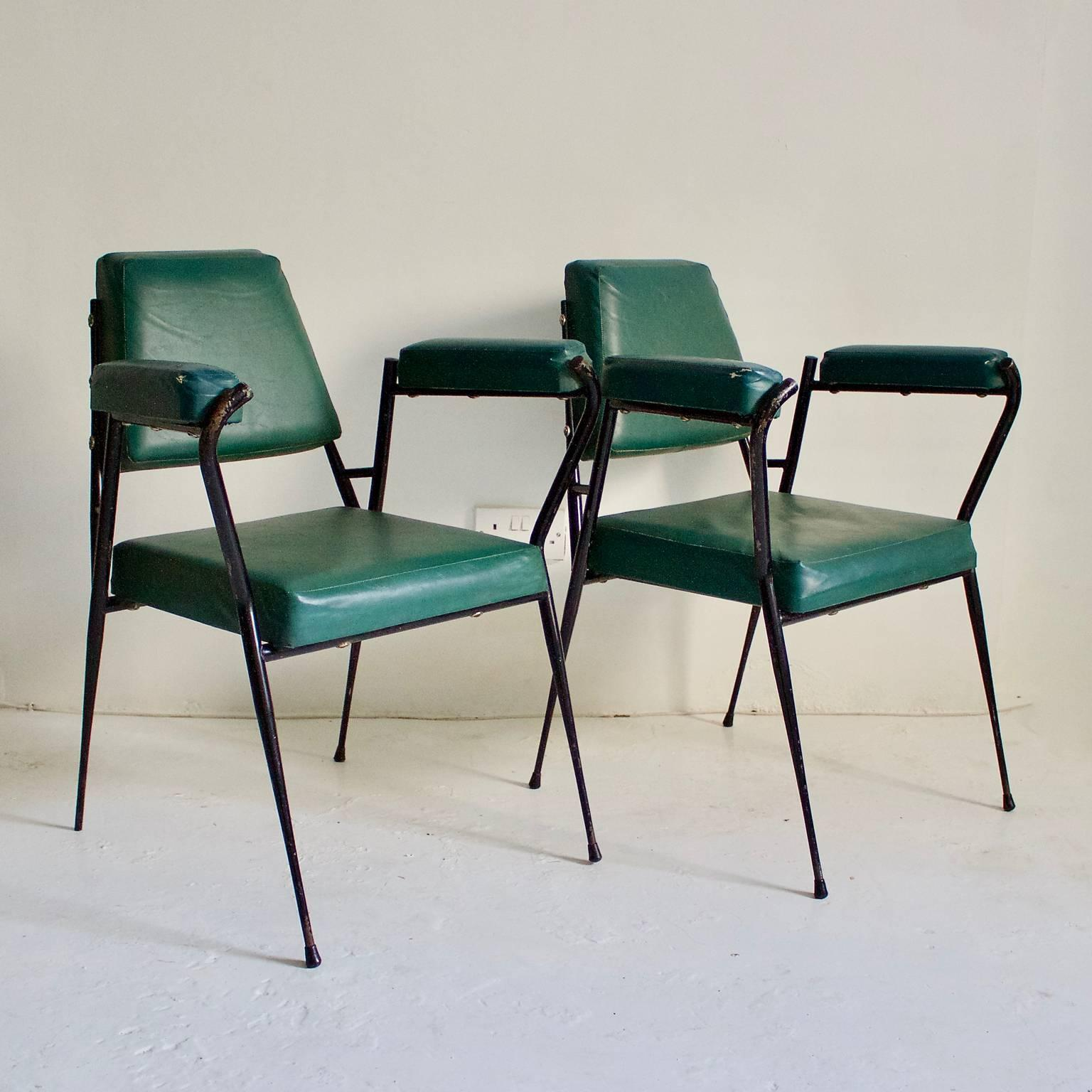 Superb A Pair Of Simple Italian Office Chairs Or Occasional Chairs, Manufactured  By Fratelli Ferrari U0026