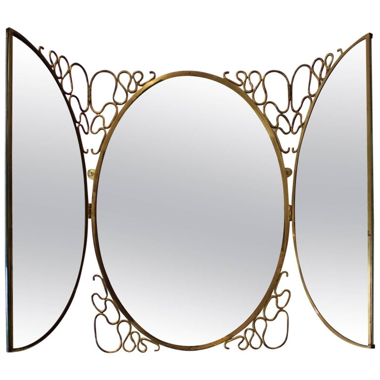 Italian Folding Brass Mirror, 1950s