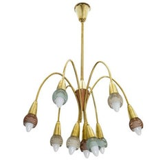 Brass Chandelier in the Style of Stilnovo, Italy, 1950s