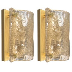 Mid-Century Modern Sconces, Smokey Bubble Glass Shades, Kaiser, Germany