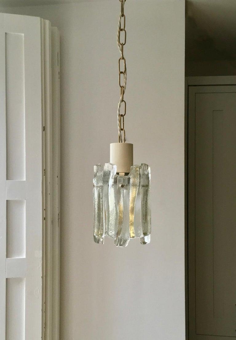 Mid-Century Modern Pair of Glass Pendant Lights by Kalmar of Austria For Sale