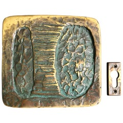 Sculptural Art Door Handle with Keyhole Plate