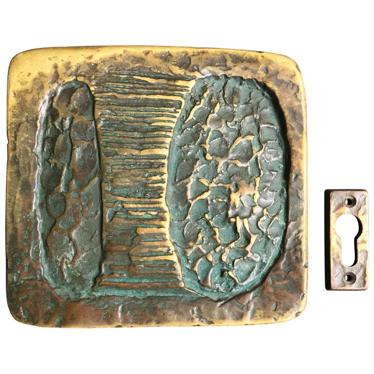 Sculptural Art Door Handle with Keyhole Plate For Sale