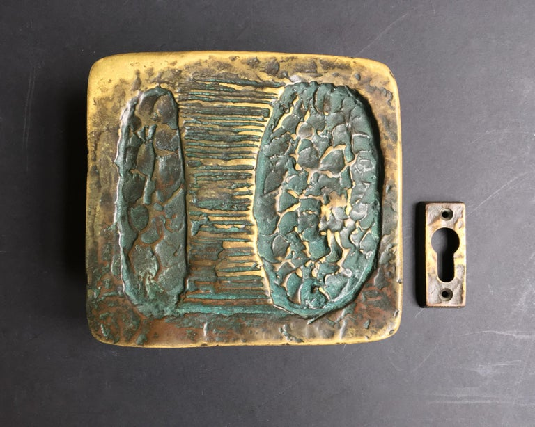 Sculptural Art Door Handle with Keyhole Plate For Sale 4