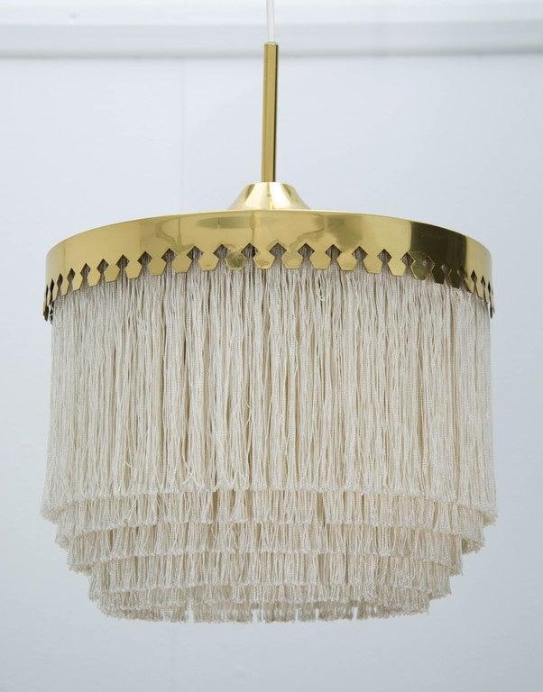Brass Fringed Pendant Light by Hans-Agne Jakobsson, Sweden, 1960s For Sale