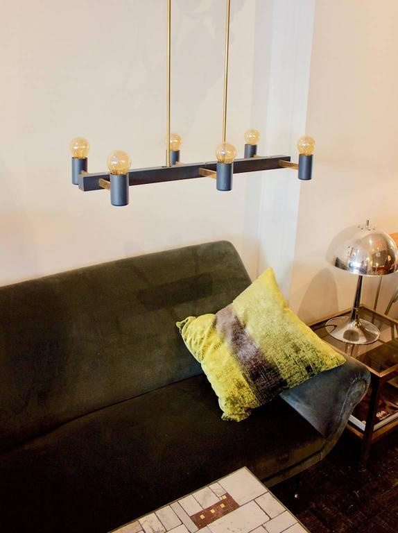 Minimal Steel Chandelier With Double Height Brass Stems