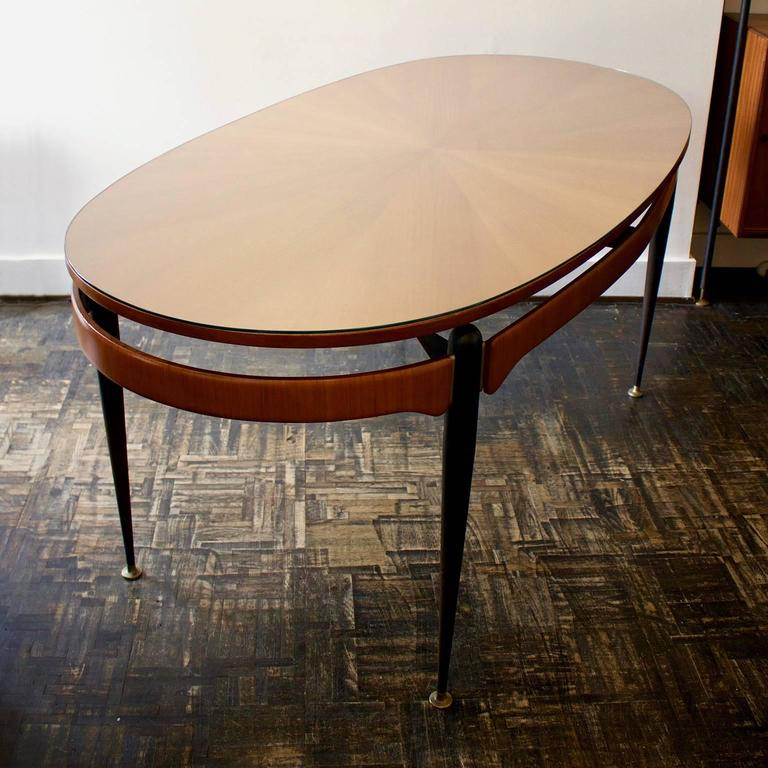 Italian Dining Table with Sunburst Top, 1950s For Sale 1