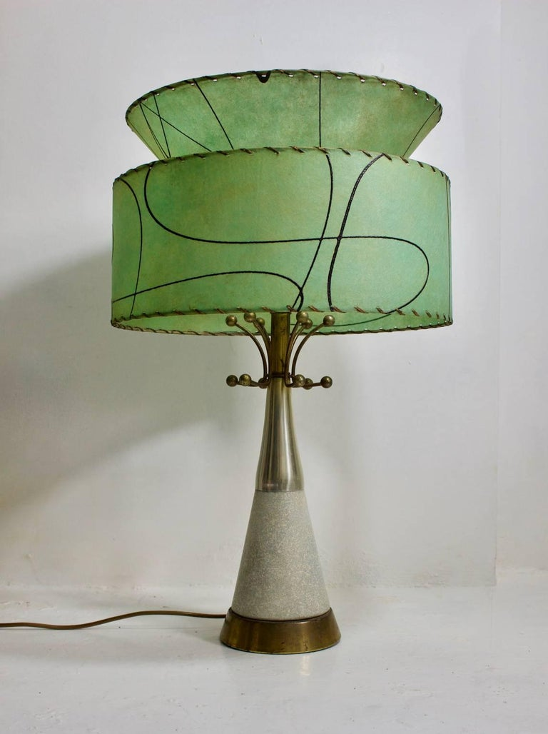 Ceramic And Brass Table Lamp With Atomic Details And
