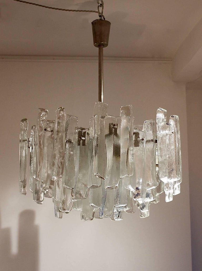 Chandelier Of Layered Glass Panels By Kalmar Austria 1960s The Model
