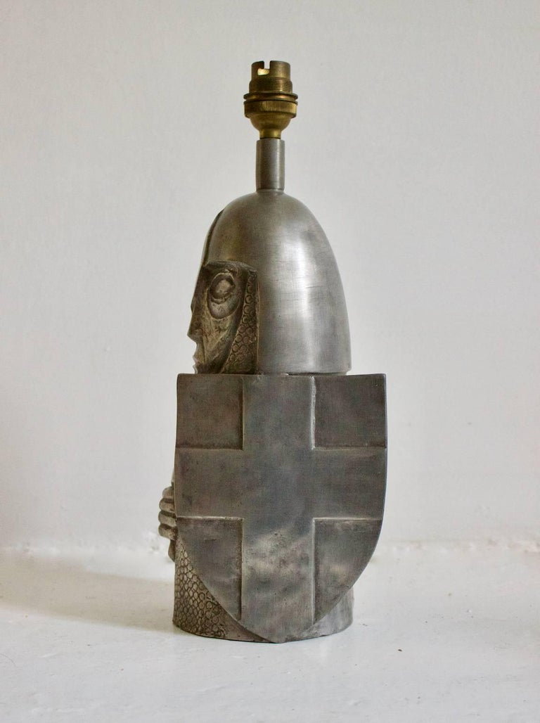 French Pewter Lamp In The Shape Of A Knight For Sale At