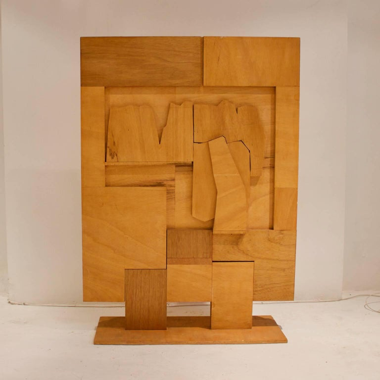 Mid-Century Modern Folk Art Wooden Screen with Abstract Design, Mid-20th Century, European For Sale