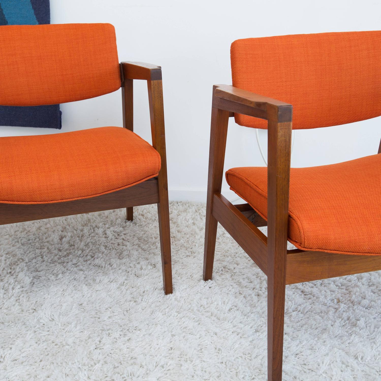 Pair of Walnut Gunlocke Armchairs For Sale at 1stdibs
