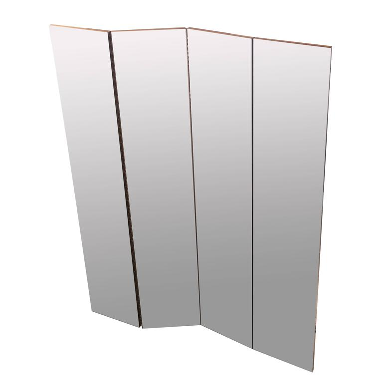 Four-Panel Mirrored Room Divider For Sale