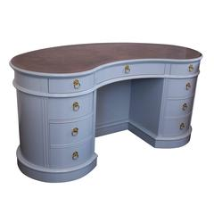 Lacquered Kidney Desk with Burled Wood Top by Drexel