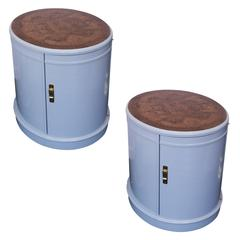 Lacquered Oval End Tables with Burled Wood Tops by Drexel